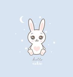 cute white bunny nursery vector image