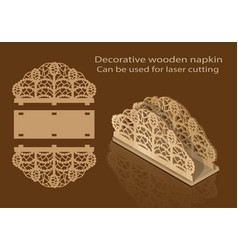Decorative wooden napkin can be used for laser vector