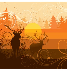 Deer and forest background vector