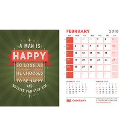Desk calendar template for 2018 year february vector