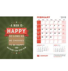 Desk calendar template for 2018 year february vector
