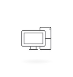 desktop computer icon vector image