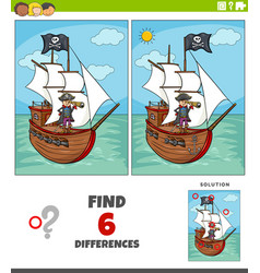 differences educational game with pirate and ship vector image