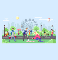 different people walking in park urban city vector image