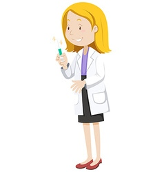 Doctor with medicine in injection tube vector image