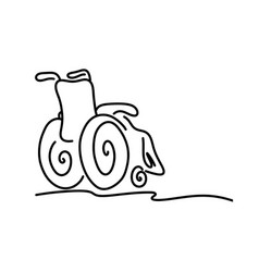 doodle wheelchair with copyspace on the right vector image