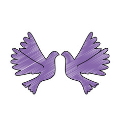 doves flying isolated icon vector image