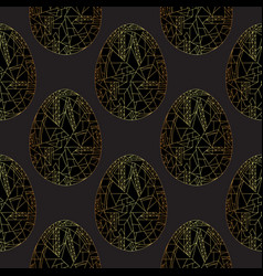 easter eggs golden seamless pattern hand drawn vector image
