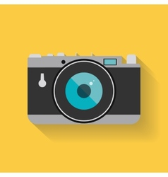 Flat retro photo camera web icon vector image