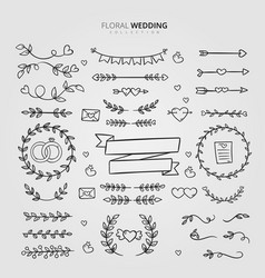 floral wedding ornaments collection design vector image
