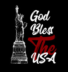 God bless the usa text with the statue of liberty vector