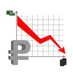 Graph fall ruble Russian currency flies down vector