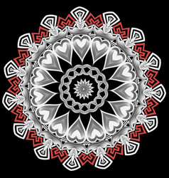 greek mandala pattern tribal black white vector image