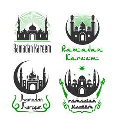 Greetings set for ramadan kareem holiday vector