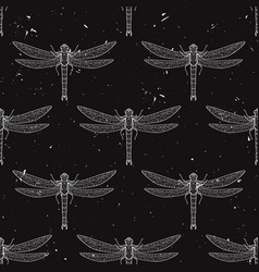 grunge seamless pattern with dragonflies vector image