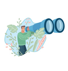 guy looking forward with giant binocular vector image