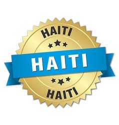 Haiti round golden badge with blue ribbon vector