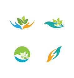 hand care logo template vector image