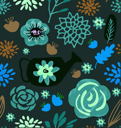 hand drawn floral pattern delicate flowers vector image