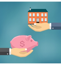 Hand with piggybank and hand with house vector