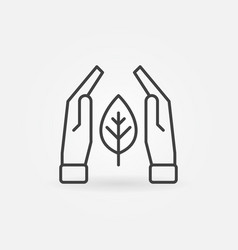 hands with leaf concept outline icon vector image
