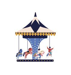 happy cartoon children ride on carousel horse vector image