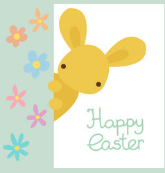 Happy easter greeting card with rabbit flowers vector