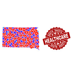 Healthcare collage of mosaic map of south dakota vector