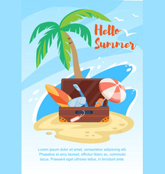 hello summer banner suitcase on seaside with palm vector image