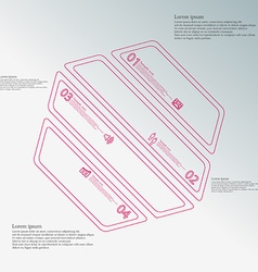 Hexagon infographic template created by four red vector