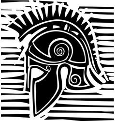 Hoplite greek helmet profile vector