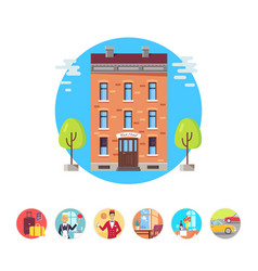 hotel services icons vector image