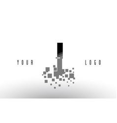 I pixel letter logo with digital shattered black vector