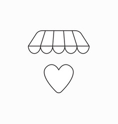 icon concept heart under store awning vector image