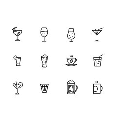 icon set alcoholic cocktails wine cold vector image