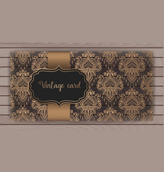 invitation cards with damask vector image vector image