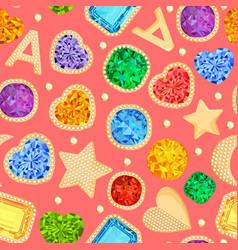 Jewelry gemstones gold fashion seamless pattern vector