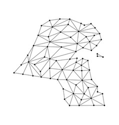 Kuwait map of polygonal mosaic lines network rays vector