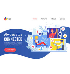 landing page always stay connected creative vector image