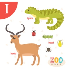Letter I Cute animals Funny cartoon animals in vector image