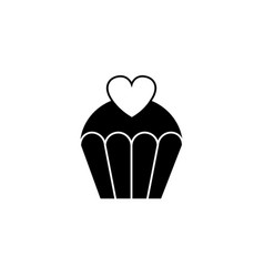 love cake with heart solid icon sweets vector image