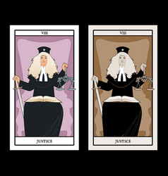 Major arcana tarot cards justice woman dressed in vector