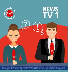 News anchor man and woman vector