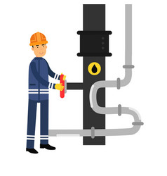oilman character working on an oil pipeline oil vector image