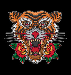 old school traditional tiger head tattoos vector image