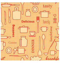 orange and red kitchenware and words - seamless vector image