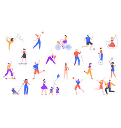 outdoor activity characters jogging and do sports vector image