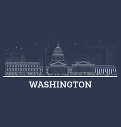 outline washington dc skyline with white buildings vector image