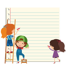 Paper template with happy children writing vector