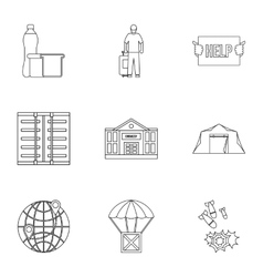 People fugitives icons set outline style vector